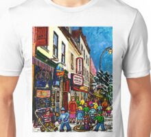 RUE ST.LAURENT WITH SCHWARTZ'S DELI WINTER MONTREAL CITY SCENE ART Unisex T-Shirt