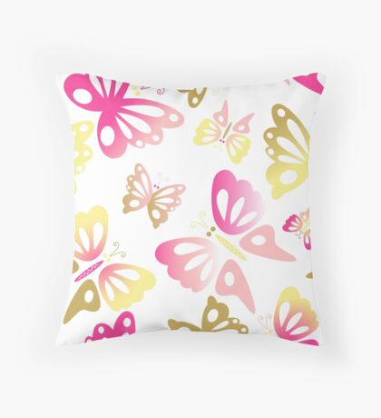 Abstract Pastel Pink and Gold Butterfly Print Pattern Throw Pillow
