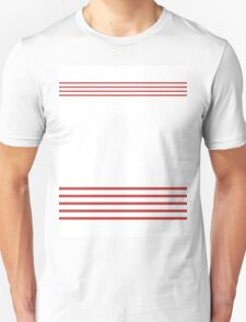 Trendy White and Red Stripes Design Unisex T-Shirt