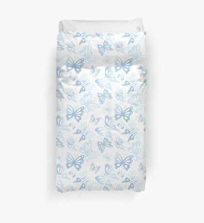 Abstract Blue Butterfly Print Pattern Duvet Cover