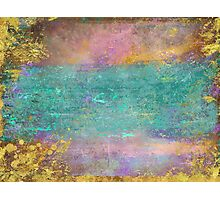 Sunset, Barbados - Impressionist original painting with gold leaf Photographic Print