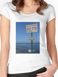CAUTION - Beach Access Women's Fitted Scoop T-Shirt