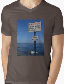 CAUTION - Beach Access Mens V-Neck T-Shirt