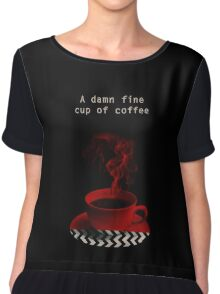"""Twin Peaks"" - A damn fine cup of coffee Chiffon Top"