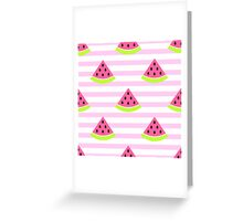 Watermelon slices and pink stripes. Greeting Card