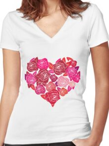 A Heart of Red Roses Women's Fitted V-Neck T-Shirt