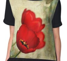 Lovely Red Flowers With Moody Grunge Canvas Texture and Stains Chiffon Top