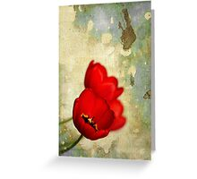 Lovely Red Flowers With Moody Grunge Canvas Texture and Stains Greeting Card