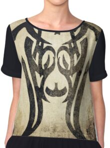 Sad - Conceptual Vector Grunge Vintage Art Prints Chiffon Top