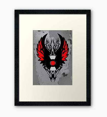 PUNK ROCK DJ Vinyl Record Art with Tribal Spikes and Wings  Framed Print