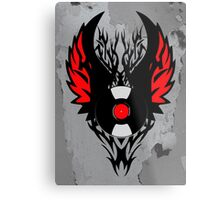 PUNK ROCK DJ Vinyl Record Art with Tribal Spikes and Wings  Metal Print