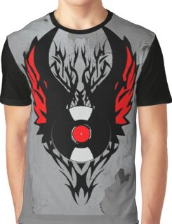 PUNK ROCK DJ Vinyl Record Art with Tribal Spikes and Wings  Graphic T-Shirt