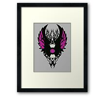 Vinyl Record Retro Punk Spikes Tribal with Wings - Purple Design Framed Print