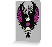 Vinyl Record Retro Punk Spikes Tribal with Wings - Purple Design Greeting Card