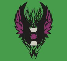 Vinyl Record Retro Punk Spikes Tribal with Wings - Purple Design One Piece - Short Sleeve