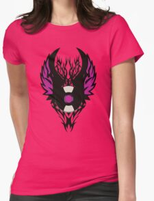 Vinyl Record Retro Punk Spikes Tribal with Wings - Purple Design Womens Fitted T-Shirt