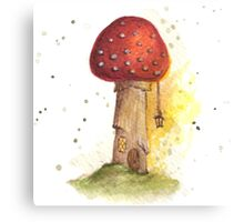 Toadstool House with Lantern Canvas Print