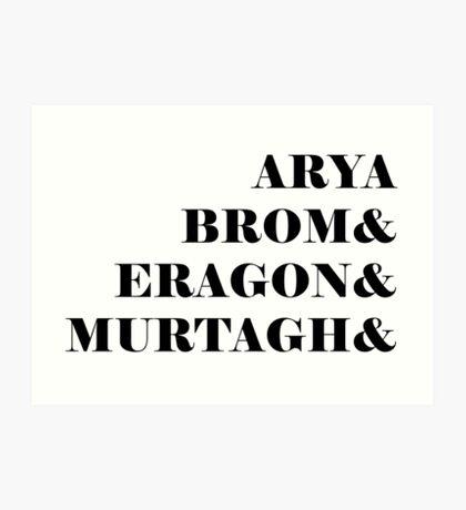 Eragon names Art Print