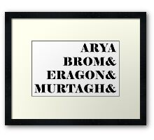 Eragon names Framed Print