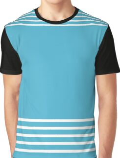 Trendy Blue and White Stripes Design Graphic T-Shirt