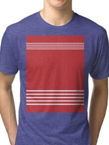 Trendy Red and White Stripes Design Tri-blend T-Shirt
