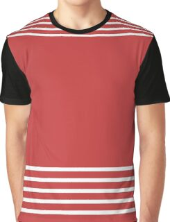 Trendy Red and White Stripes Design Graphic T-Shirt