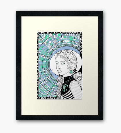 Cosmonaut girl cool Framed Print