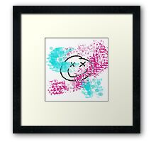 Pink and Teal Blinking Smiley Framed Print