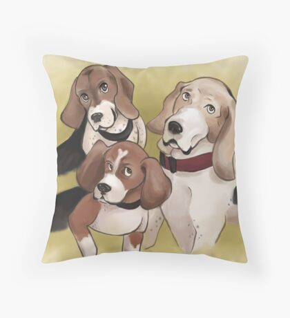 Beagle Trio Throw Pillow