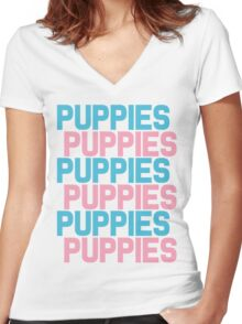 Puppies Overload Women's Fitted V-Neck T-Shirt