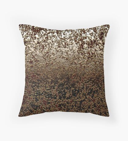 Abstract Caramel Brown Crackle Texture on Ombre Grey Throw Pillow