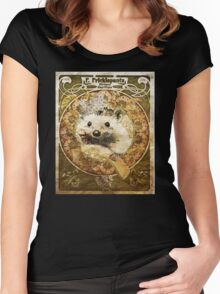 Art Nouveau Hedgehog Women's Fitted Scoop T-Shirt