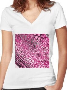 Scales - Abstract In Pink And Black Women's Fitted V-Neck T-Shirt