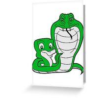 cobra papa mama child boy family cute cute comic cartoon snake fathers day mothers Greeting Card