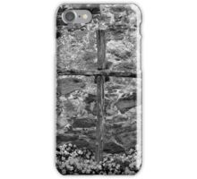 Espied Cross w Pansies 2 BW iPhone Case/Skin