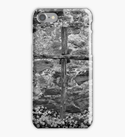 Espied Cross w Pansies 2 BW iPhone Case/Skin