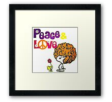 snoopy peace & love Framed Print