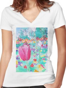 Tulip time Women's Fitted V-Neck T-Shirt