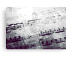Music! Treble clef with Grunge Vintage Texture - DJ Retro Music  Canvas Print