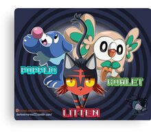Litten Rowlet and Popplio Canvas Print