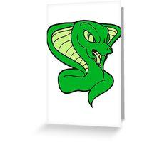 cobra cool evil dangerous rattlesnake poisonous bite comic cartoon Greeting Card