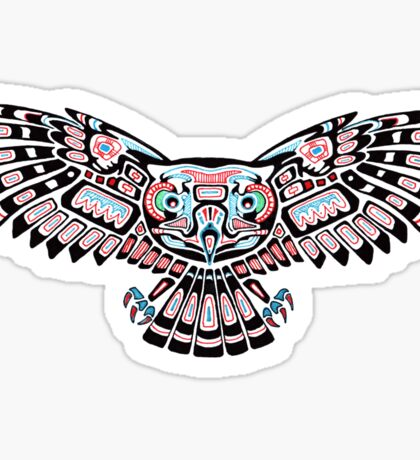 Mystic Owl in Native American Style art Sticker