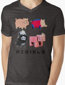 Pigxels Mens V-Neck T-Shirt