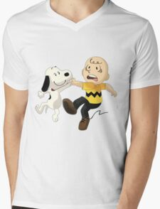=snoopy&charlie happy Mens V-Neck T-Shirt