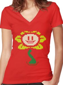 Flowey color Women's Fitted V-Neck T-Shirt