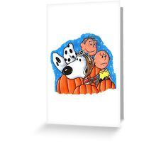 1snoopy and charlie brown Greeting Card