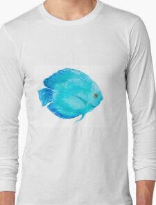Tropical Turquoise Fish painting Long Sleeve T-Shirt
