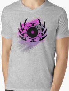 Retro Vinyl Records - Vinyl With Paint and Tribal Spikes - Music DJ TShirt Mens V-Neck T-Shirt