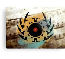 Retro Vinyl Records Music - Vinyl With Paint and Tribal Spikes - DJ TShirt Metal Print