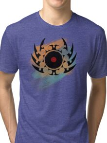 Retro Vinyl Records Music - Vinyl With Paint and Tribal Spikes - DJ TShirt Tri-blend T-Shirt